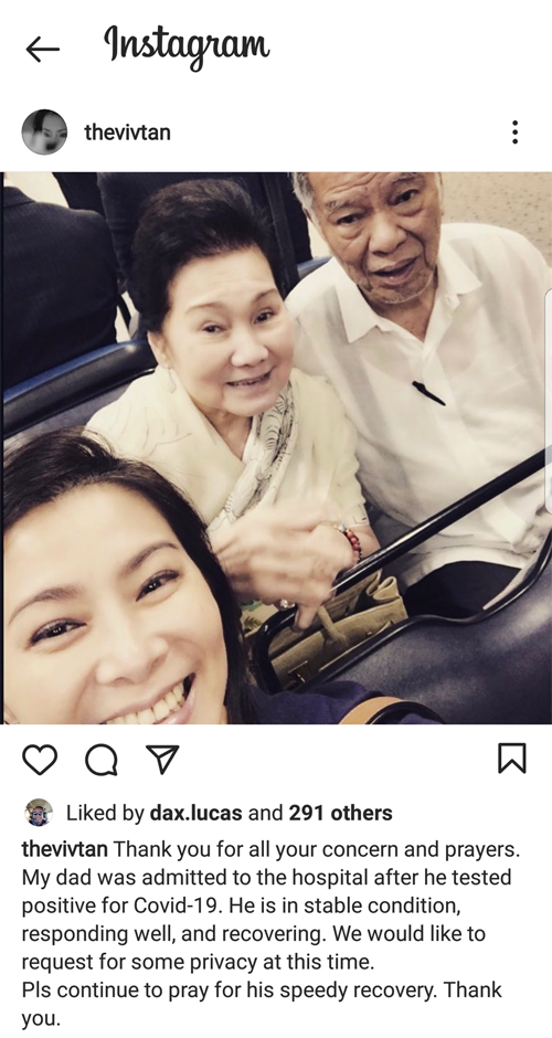 Lucio Tan stable after COVID-19 infection
