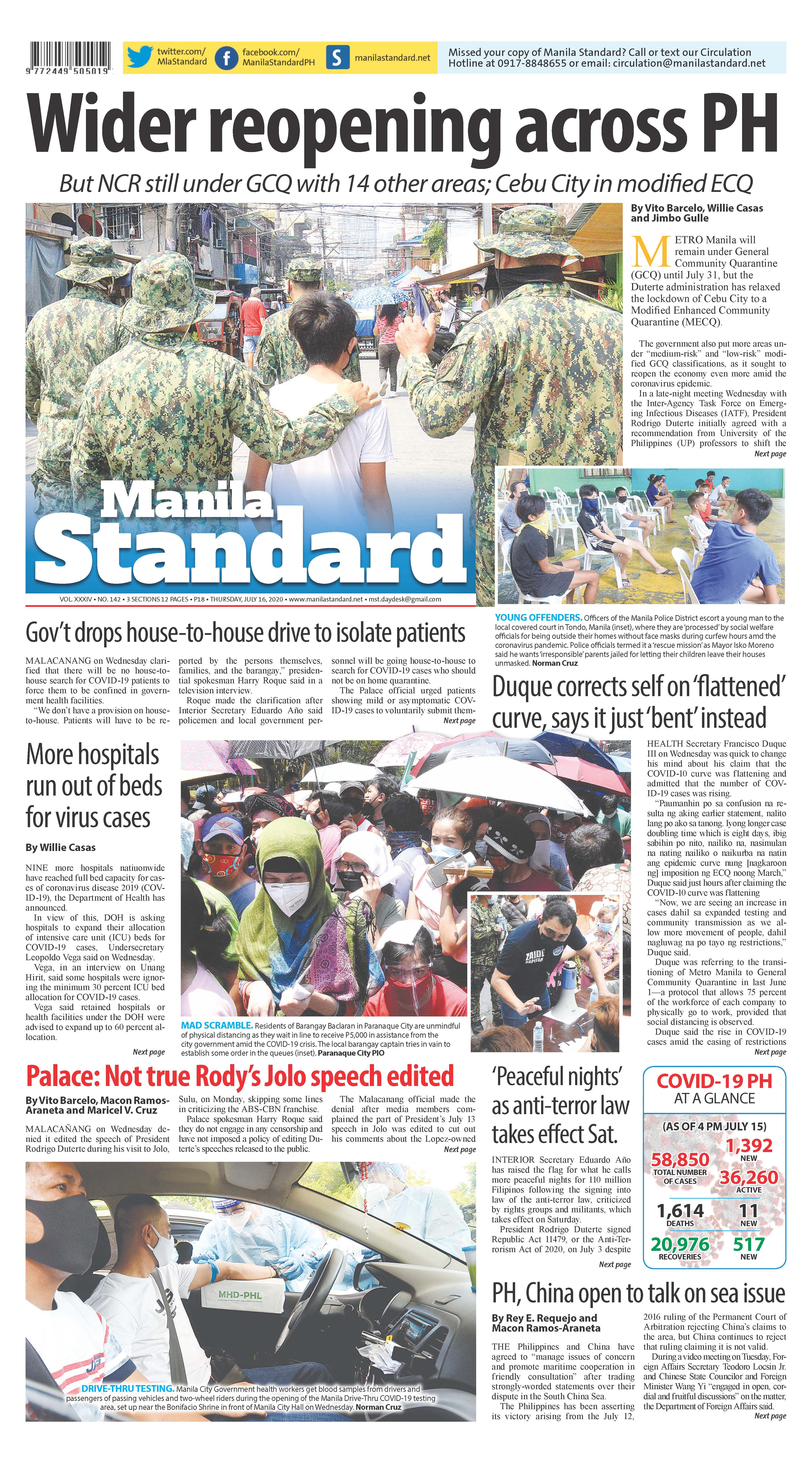 Thursday Print Edition (7/16/2020)