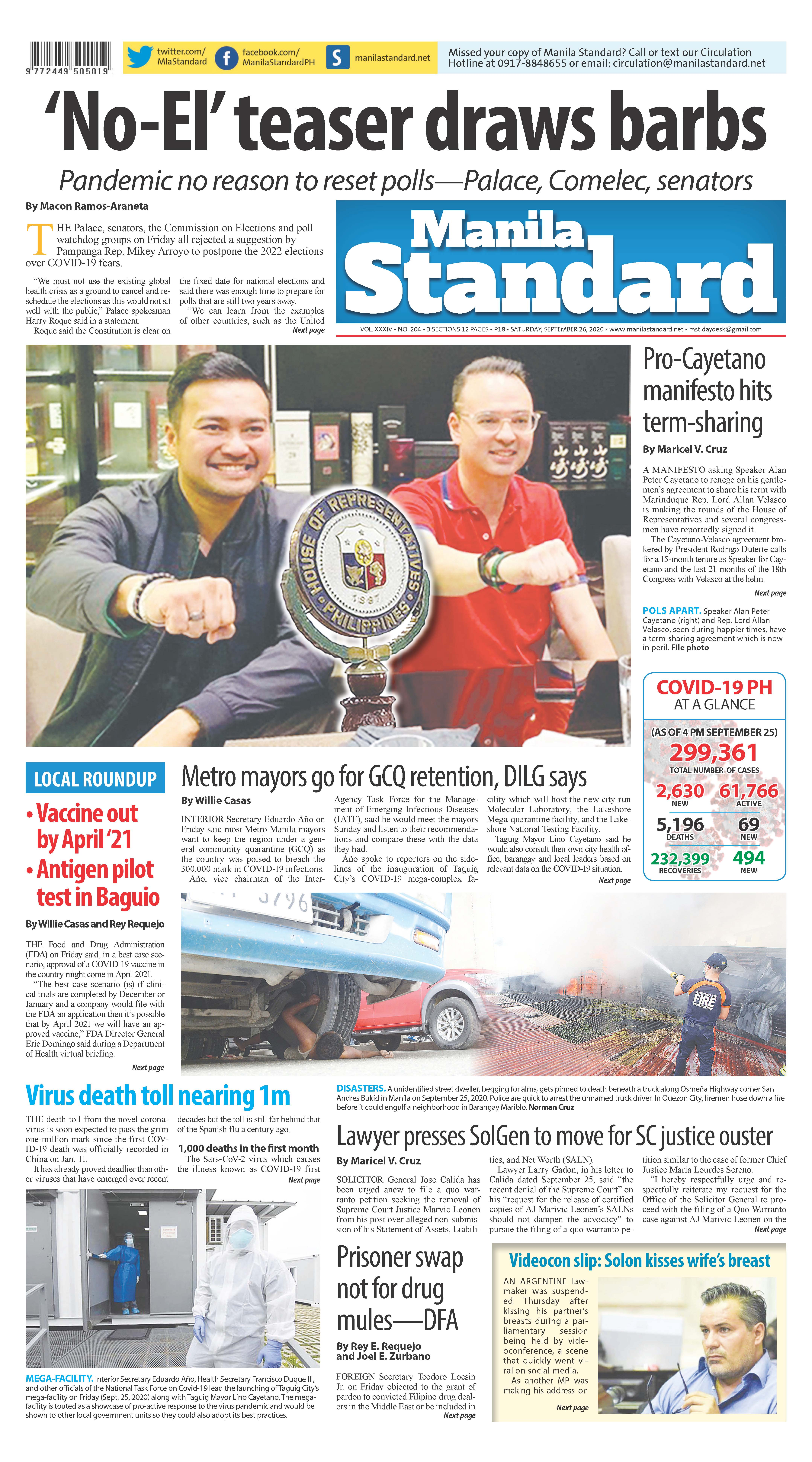 Saturday Print Edition (9/26/2020)